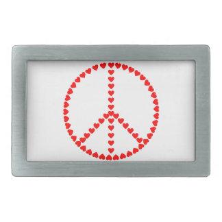 Signo de la paz redondo de los corazones rojos hebilla de cinturón rectangular