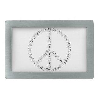 Signo de la paz redondo negro de las notas hebilla cinturón rectangular