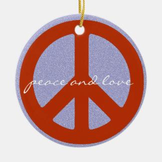 signo de la paz retro adorno navideño redondo de cerámica