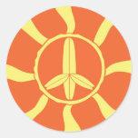 Signo de la paz retro de la tabla hawaiana etiqueta