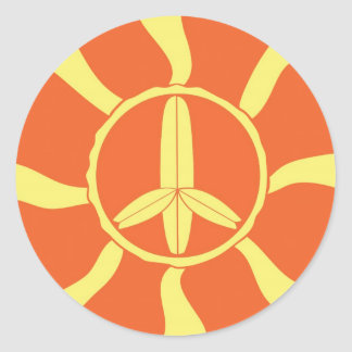 Signo de la paz retro de la tabla hawaiana etiqueta redonda