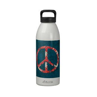 Signo de la paz retro del hippy 60s botella de agua