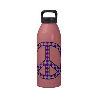 Signo de la paz retro del hippy 60s botellas de beber