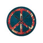 Signo de la paz retro del hippy 60s reloj de pared