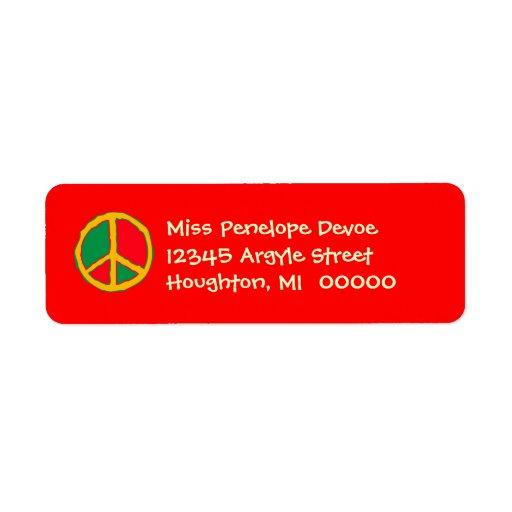 Signo de la paz retro en etiquetas brillantes del  etiqueta de remite