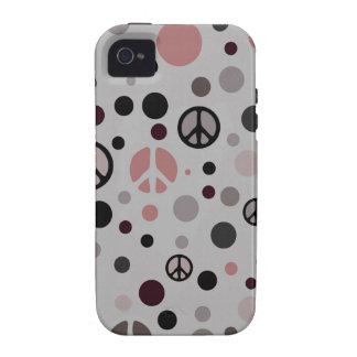 Signo de la paz retro vibe iPhone 4 carcasas