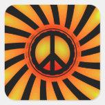 Signo de la paz retro pegatina cuadradas