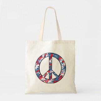 Signo de la paz rojo, blanco y azul bolsa tela barata