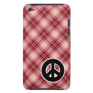Signo de la paz rojo de la tela escocesa iPod Case-Mate cárcasa
