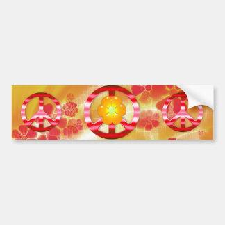Signo de la paz rojo floral del cromo etiqueta de parachoque