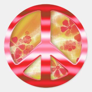 Signo de la paz rojo floral del cromo pegatina redonda