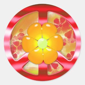 Signo de la paz rojo floral del cromo