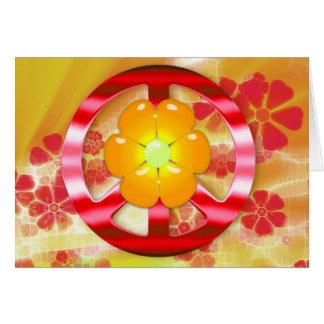 Signo de la paz rojo floral del cromo tarjetón
