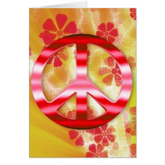 Signo de la paz rojo floral del cromo felicitación