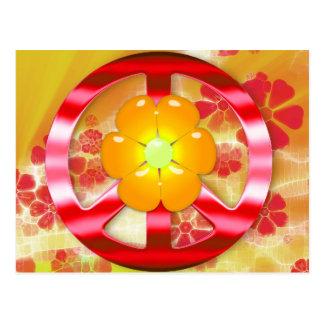 Signo de la paz rojo floral del cromo postales