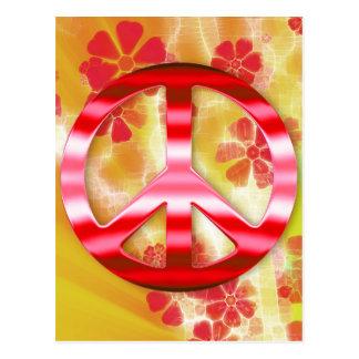Signo de la paz rojo floral del cromo tarjetas postales