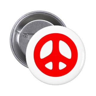 Signo de la paz rojo grande pins