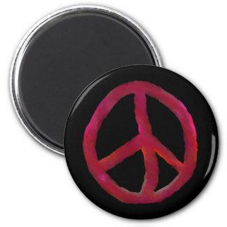Signo de la paz rojo imán redondo 5 cm