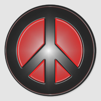 signo de la paz rojo pegatina redonda