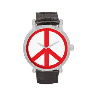 Signo de la paz rojo reloj