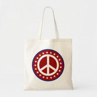 Signo de la paz rojo y estrellas blancos y azules bolsa tela barata