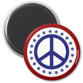 Signo de la paz rojo y estrellas blancos y azules imán redondo 5 cm