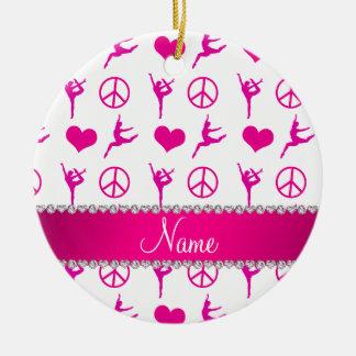 Signo de la paz rosado blanco conocido de los adorno navideño redondo de cerámica