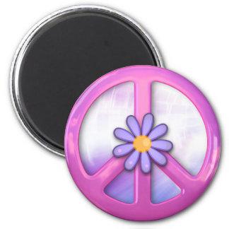 Signo de la paz rosado bonito imán redondo 5 cm
