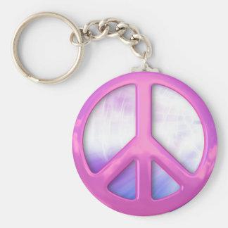 Signo de la paz rosado bonito llavero redondo tipo pin