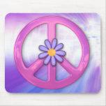 Signo de la paz rosado bonito tapete de ratones