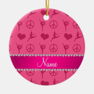 Signo de la paz rosado conocido de encargo de los adorno navideño redondo de cerámica