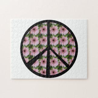 Signo de la paz rosado de la margarita puzzles con fotos