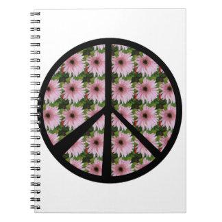 Signo de la paz rosado de la margarita spiral notebooks