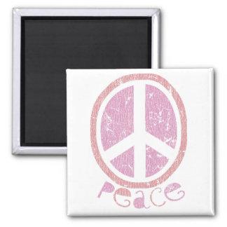 Signo de la paz rosado femenino imán cuadrado