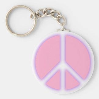 Signo de la paz rosado llavero