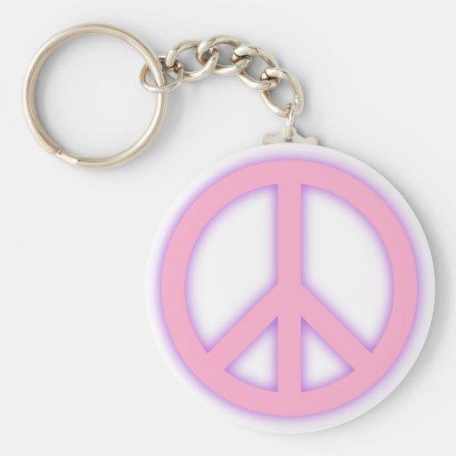 Signo de la paz rosado llavero personalizado