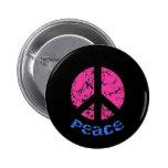 Signo de la paz rosado/negro pin