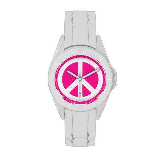 Signo de la paz rosado relojes de pulsera