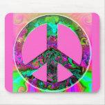 Signo de la paz rosado Trippy Tapete De Ratones