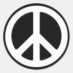 Signo de la paz simple pegatinas redondas
