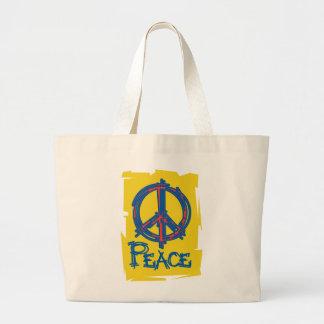 Signo de la paz sucio bolsas de mano