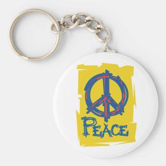 Signo de la paz sucio llavero redondo tipo pin