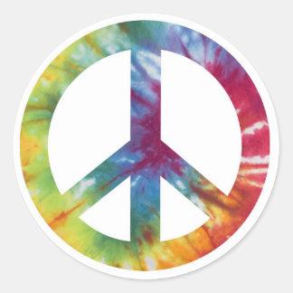 Signo de la paz teñido lazo pegatina redonda