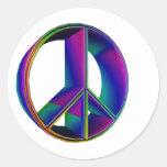 signo de la paz tridimensional #2 del arco iris pegatinas redondas