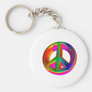 signo de la paz tridimensional #3 del arco iris llavero redondo tipo pin