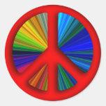 Signo de la paz Trippy del Hippie Pegatinas Redondas