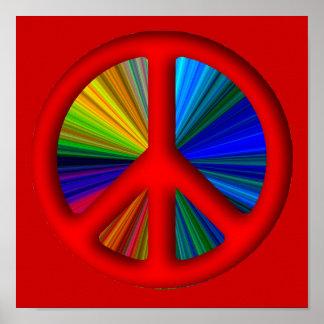 Signo de la paz Trippy del Hippie Póster