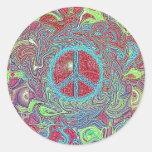 Signo de la paz Trippy maravilloso psicodélico Pegatina Redonda