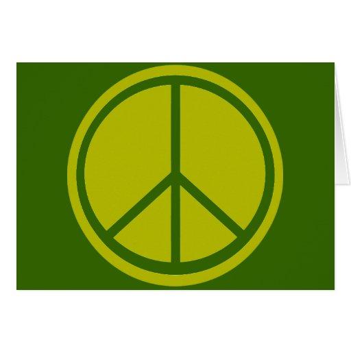 Signo de la paz verde chartreuse clásico felicitaciones