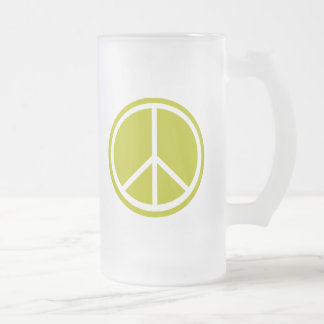 Signo de la paz verde chartreuse clásico taza de cristal